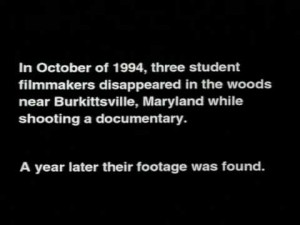 Title card for The Blair Witch Project - setting up the film as a documentary